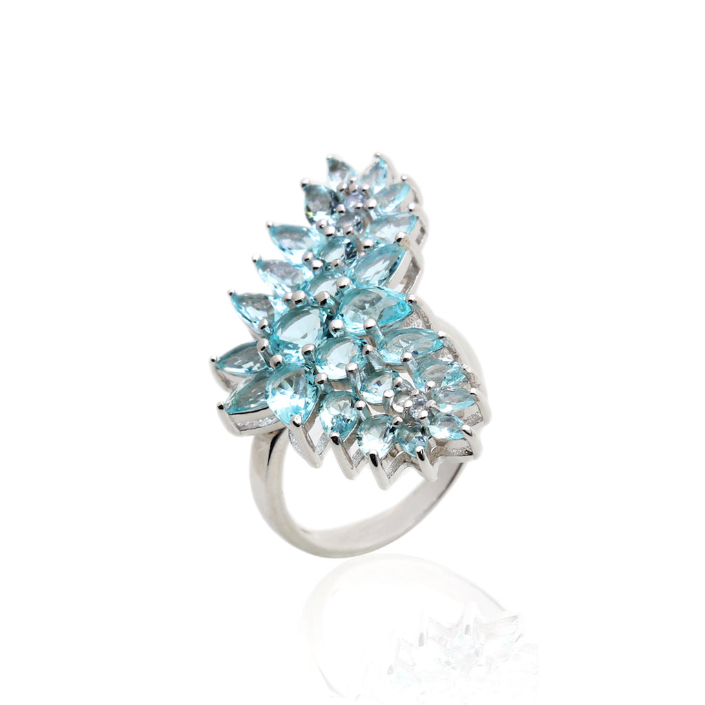 'POLIANA' Round & Pear-Cut Blue Topaz Statement Ring | RINGS | BECKY JEWELRY