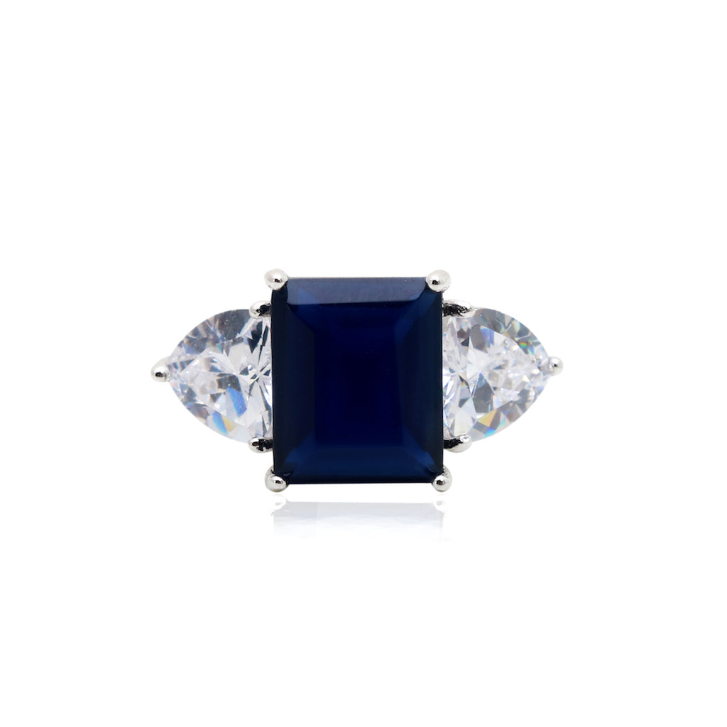 'KATE' Radiant-Cut Blue Sapphire & Trillion-Cut DiamondB Engagement Ring | RINGS | BECKY JEWELRY