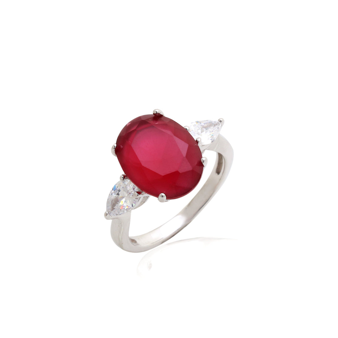 'DIANA' Oval-Cut Ruby & DiamondB Engagement Ring | RINGS | BECKY JEWELRY