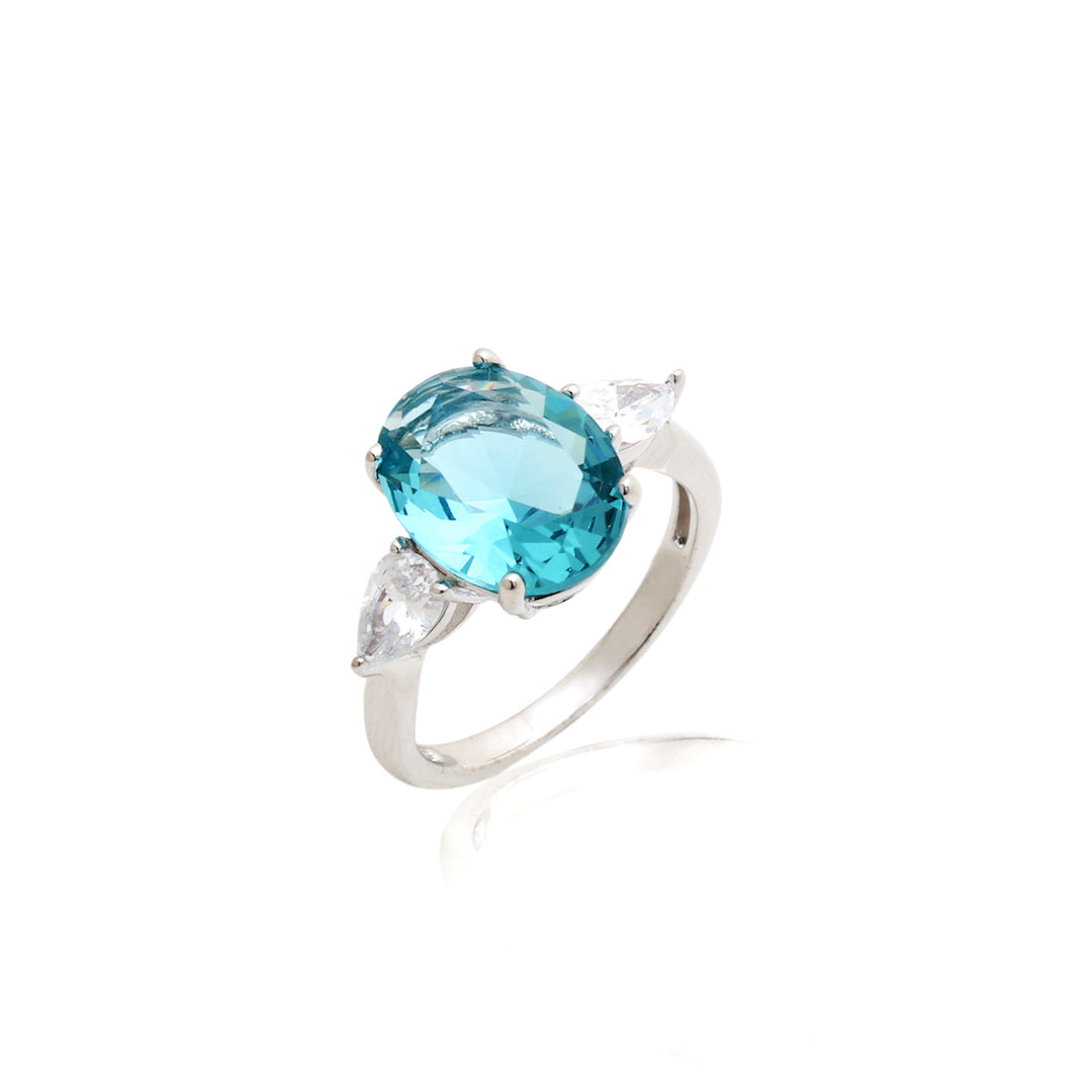 'DIANA' Oval-Cut Blue Topaz & DiamondB Engagement Ring | RINGS | BECKY JEWELRY