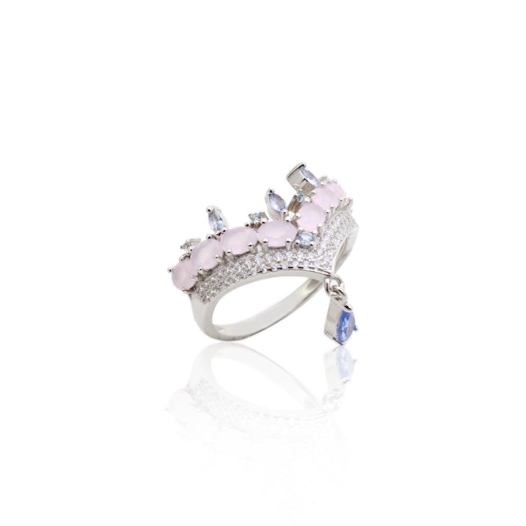 'HELENA' Oval-Cut Pink Quartz & Marquise-Cut Iolite Ring | RINGS | BECKY JEWELRY