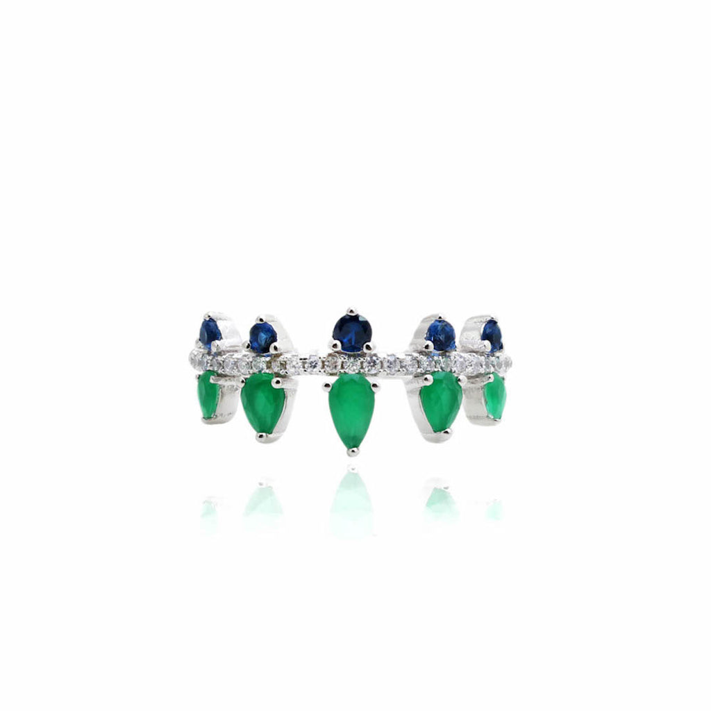 'TOKYO' Pear-Cut Emerald & Blue Sapphire & DiamondB Ring | RINGS | BECKY THE LABEL - luxury accessories & jewelry brand