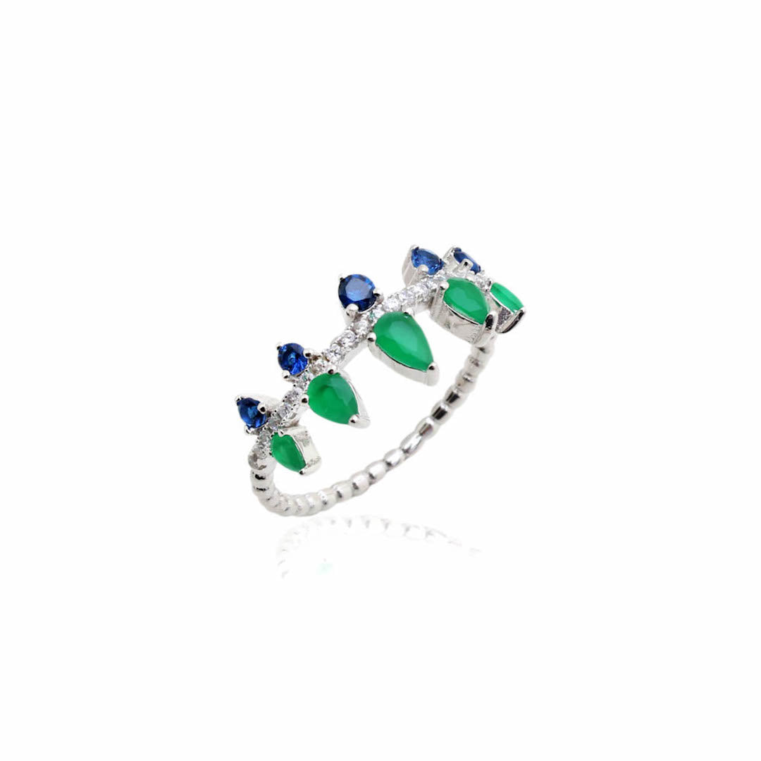 'TOKYO' Pear-Cut Emerald & Blue Sapphire & DiamondB Ring | RINGS | BECKY JEWELRY