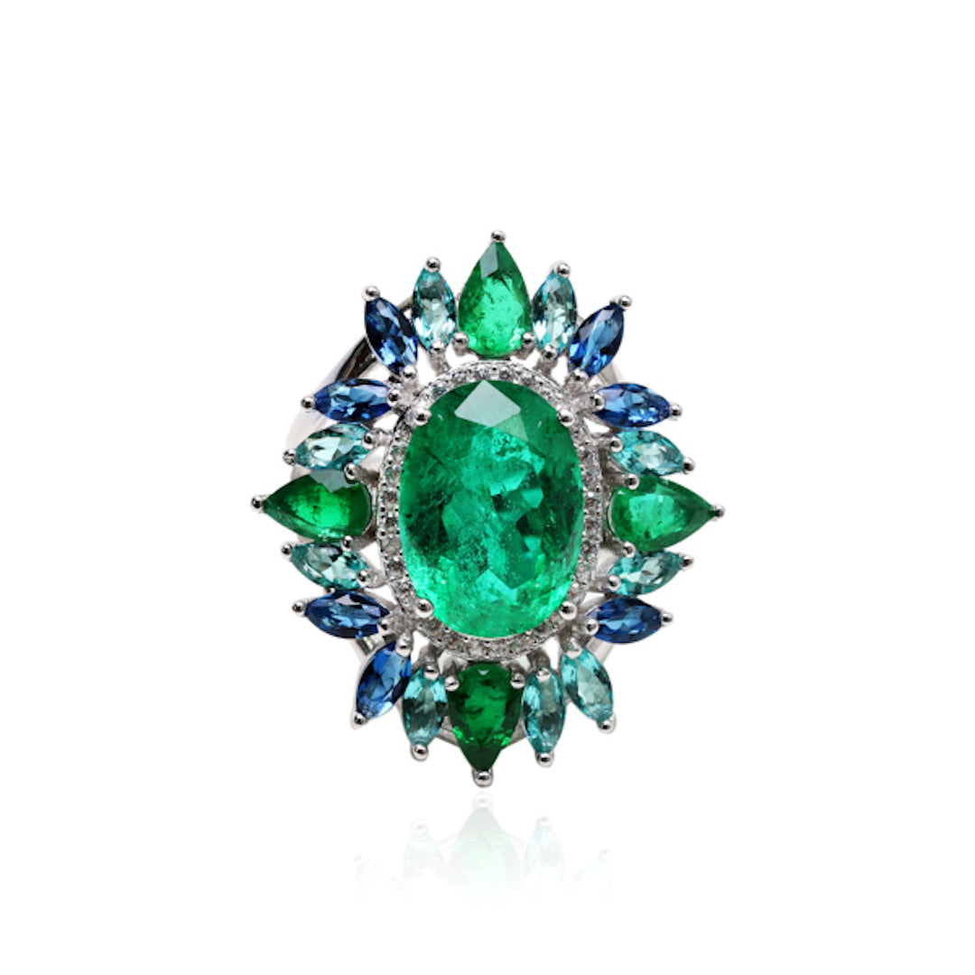 'ELLA' Emerald Blue Sapphire & Tourmaline Paraíba Statement Ring | BAND RINGS | BECKY THE LABEL - luxury accessories & jewelry brand