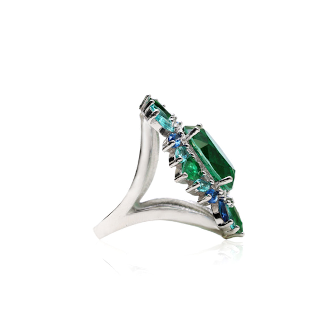 'ELLA' Emerald Blue Sapphire & Tourmaline Paraíba Statement Ring | BAND RINGS | BECKY JEWELRY