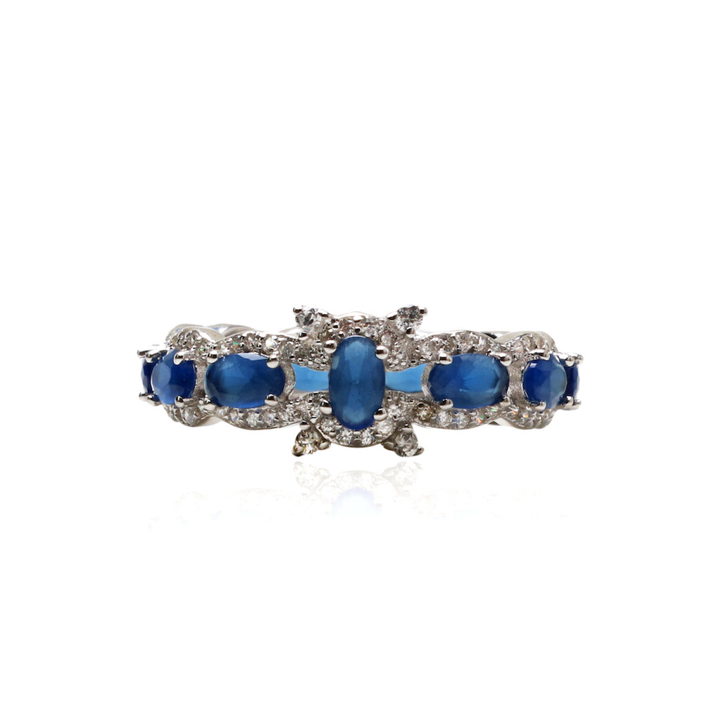 'CHRISTINA' Oval-Cut Sapphire & DiamondB Band Ring | BAND RINGS | BECKY JEWELRY