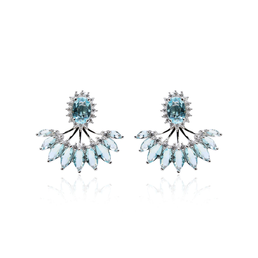 'BELLA' Oval-Cut Blue Topaz 2-in-1 Earrings | EARRINGS | BECKY JEWELRY