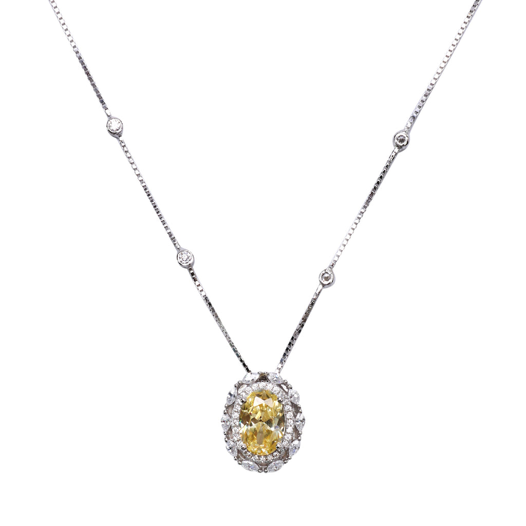 'INACIA' Oval-Cut Citrine & DiamondB Necklace NECKLACES BECKY JEWELRY