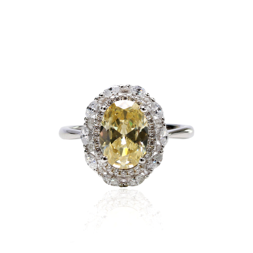 'INACIA' Oval-Cut Citrine & DiamondB Engagement Ring ENGAGEMENT RING BECKY JEWELRY