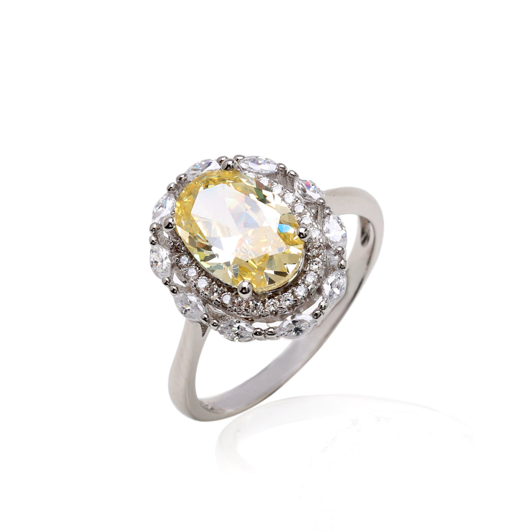 'INACIA' Oval-Cut Citrine & DiamondB Engagement Ring | ENGAGEMENT RING | BECKY JEWELRY