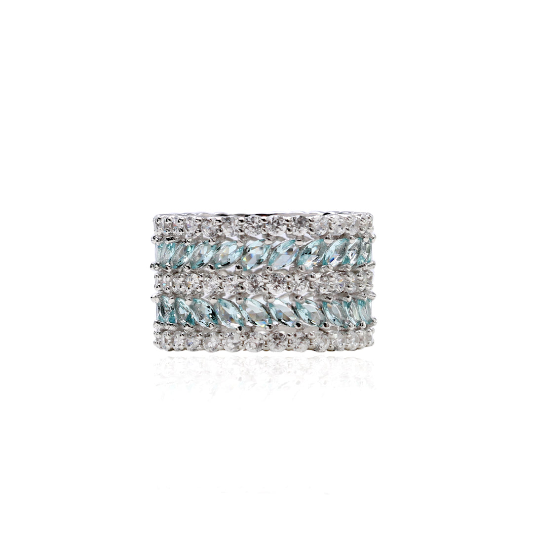 'NINA' Marquise-Cut Blue Topaz & Diamond Ring | RINGS | BECKY JEWELRY