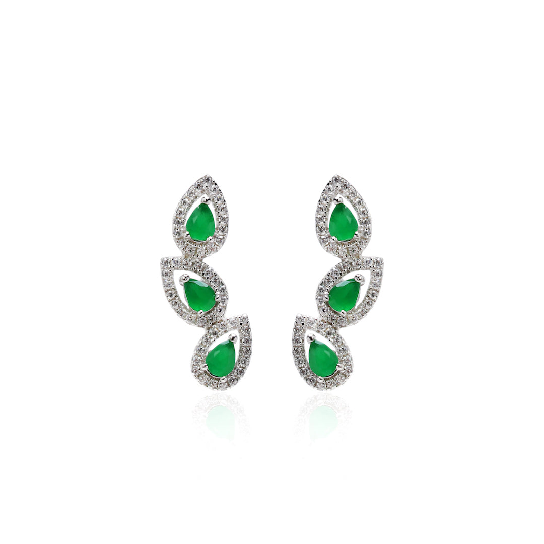 'GIULIA' Pear-Cut Emerald & DiamondB Pavé Ear Cuff | EARRINGS | BECKY THE LABEL - luxury accessories & jewelry brand