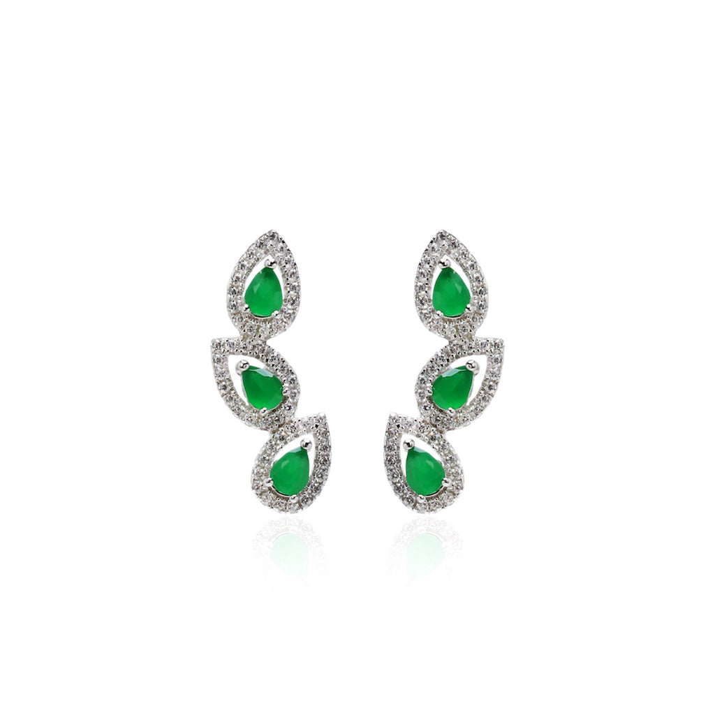 'GIULIA' Pear-Cut Emerald & DiamondB Pavé Ear Cuff | EARRINGS | BECKY JEWELRY
