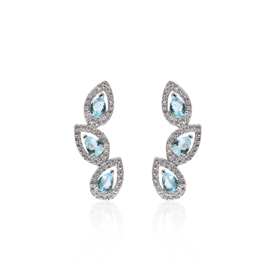 'GIULIA' Pear-Cut Blue Topaz & DiamondB Pavé Ear Cuff | EARRINGS | BECKY JEWELRY