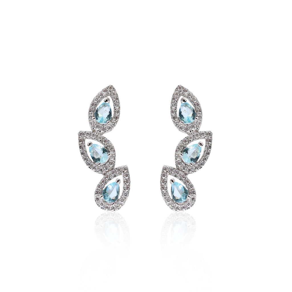 'GIULIA' Pear-Cut Blue Topaz & DiamondB Pavé Ear Cuff | EARRINGS | BECKY THE LABEL - luxury accessories & jewelry brand