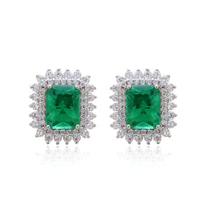 'LISA' Radiant-Cut Fusion Emerald & Diamonds Earrings | EARRINGS | BECKY THE LABEL - luxury accessories & jewelry brand