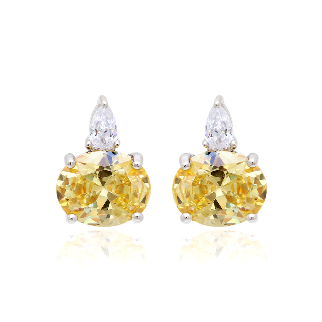'KYLIE' Oval-Cut Citrine & DiamondB Earrings | EARRINGS | BECKY JEWELRY