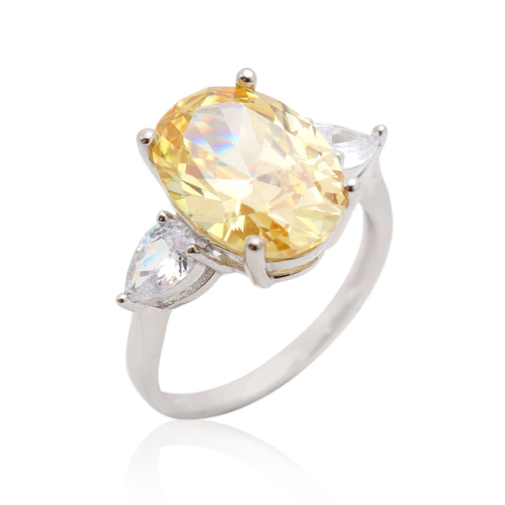 'DIANA' Oval-Cut Citrine & DiamondB Engagement Ring RINGS BECKY JEWELRY