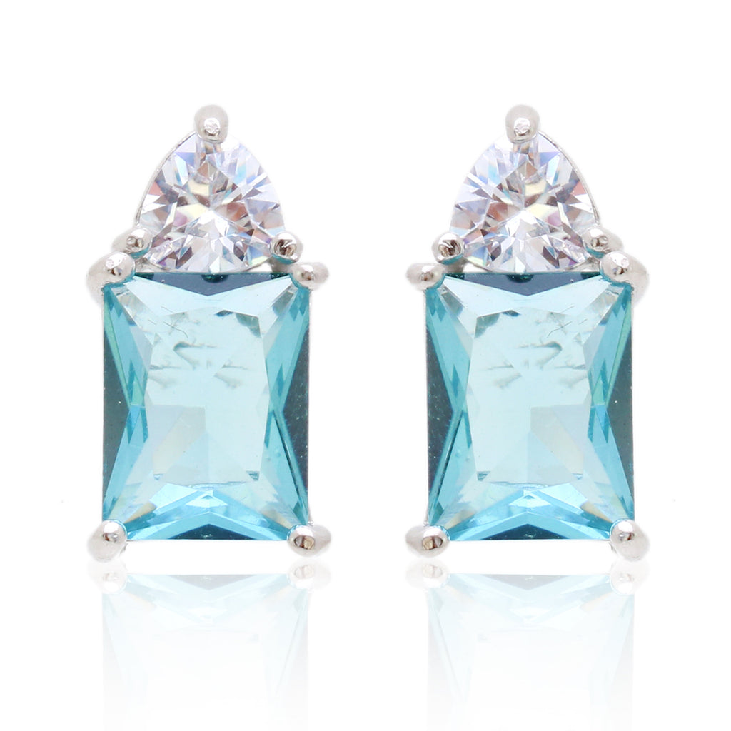 'KHLOE' Emerald-Cut Blue Topaz & DiamondB Earrings EARRINGS BECKY JEWELRY