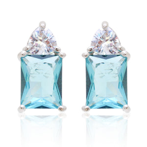 'KHLOE' Emerald-Cut Blue Topaz & DiamondB Earrings | EARRINGS | BECKY THE LABEL - luxury accessories & jewelry brand