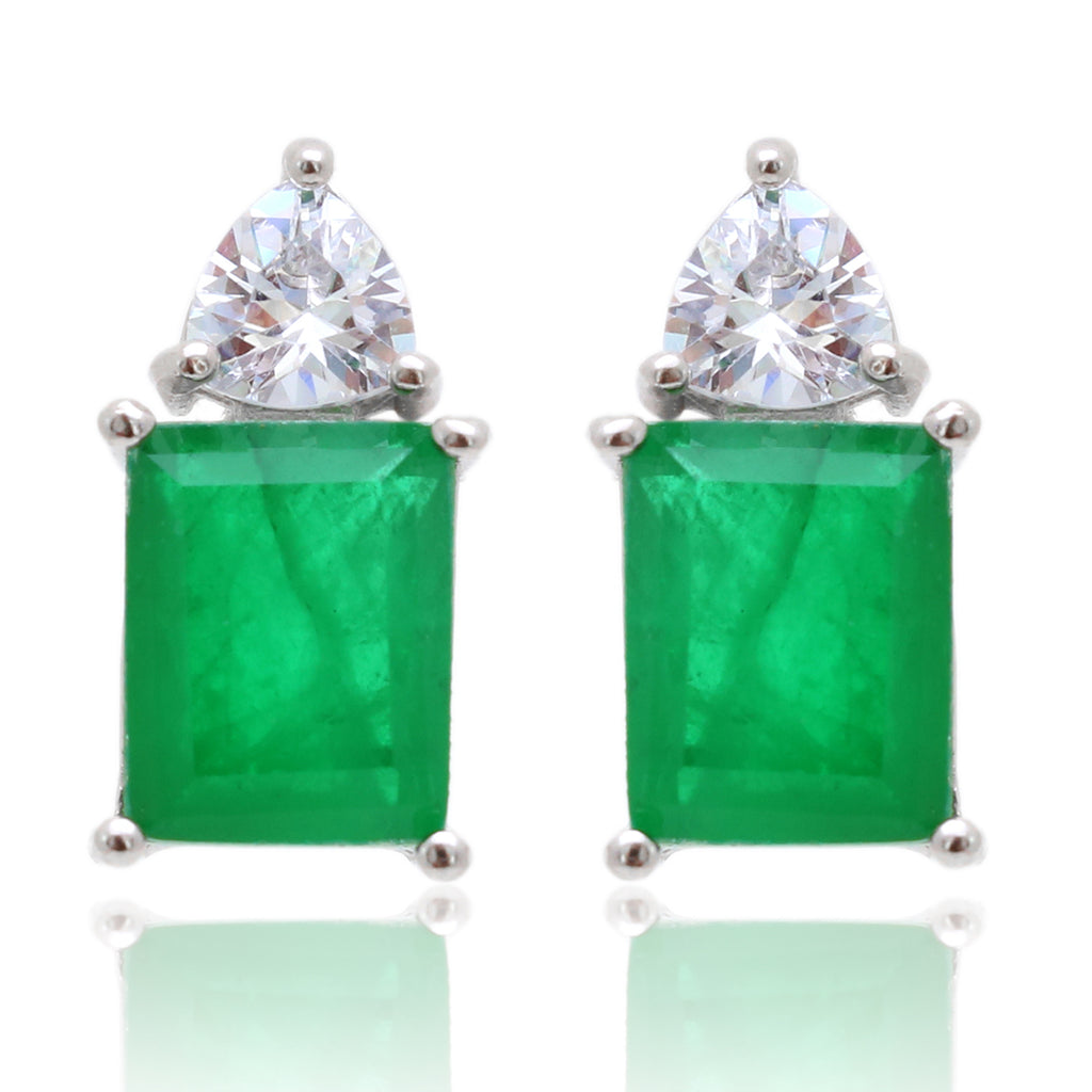 'KHLOE' Emerald-Cut Emerald & DiamondB Earrings | EARRINGS | BECKY JEWELRY