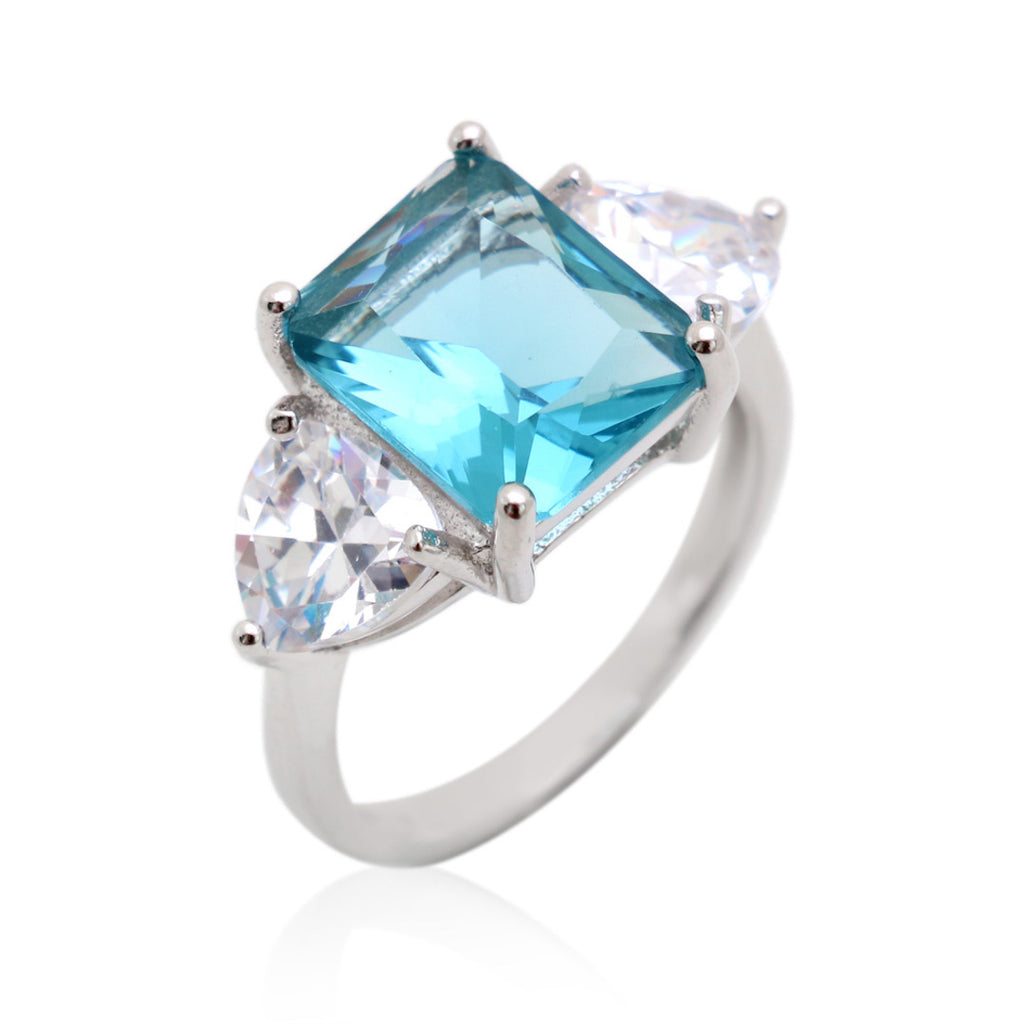 'KATE' Radiant-Cut Blue Topaz & DiamondB Engagement Ring RINGS BECKY JEWELRY