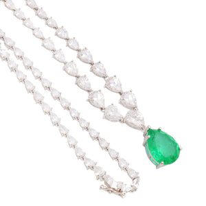 'HARPER' Pear-Cut Emerald & DiamondB Necklace | NECKLACES | BECKY THE LABEL - luxury accessories & jewelry brand