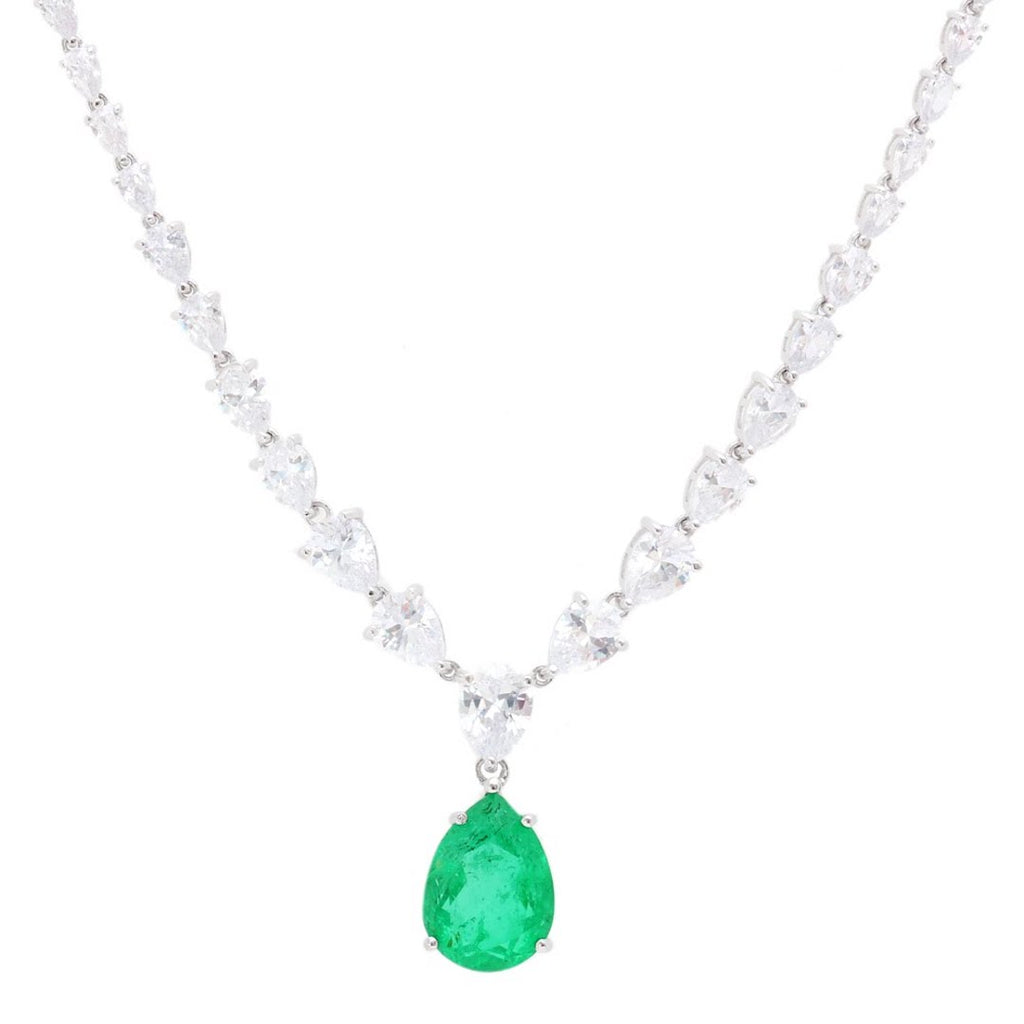 'HARPER' Pear-Cut Emerald & DiamondB Necklace NECKLACES BECKY JEWELRY
