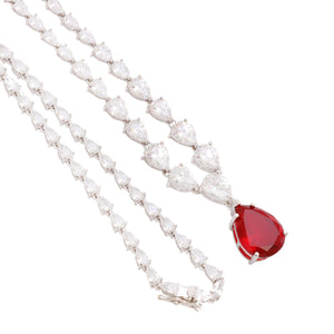'HARPER' Pear-Cut Ruby & DiamondB Necklace | NECKLACES | BECKY JEWELRY