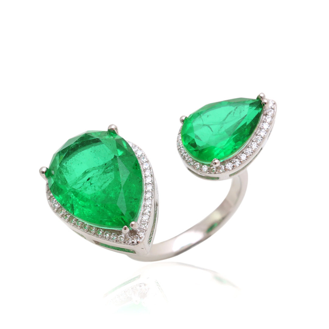 'HARPER' Double Pear-Cut Fusion Emerald Statement Ring | RINGS | BECKY JEWELRY