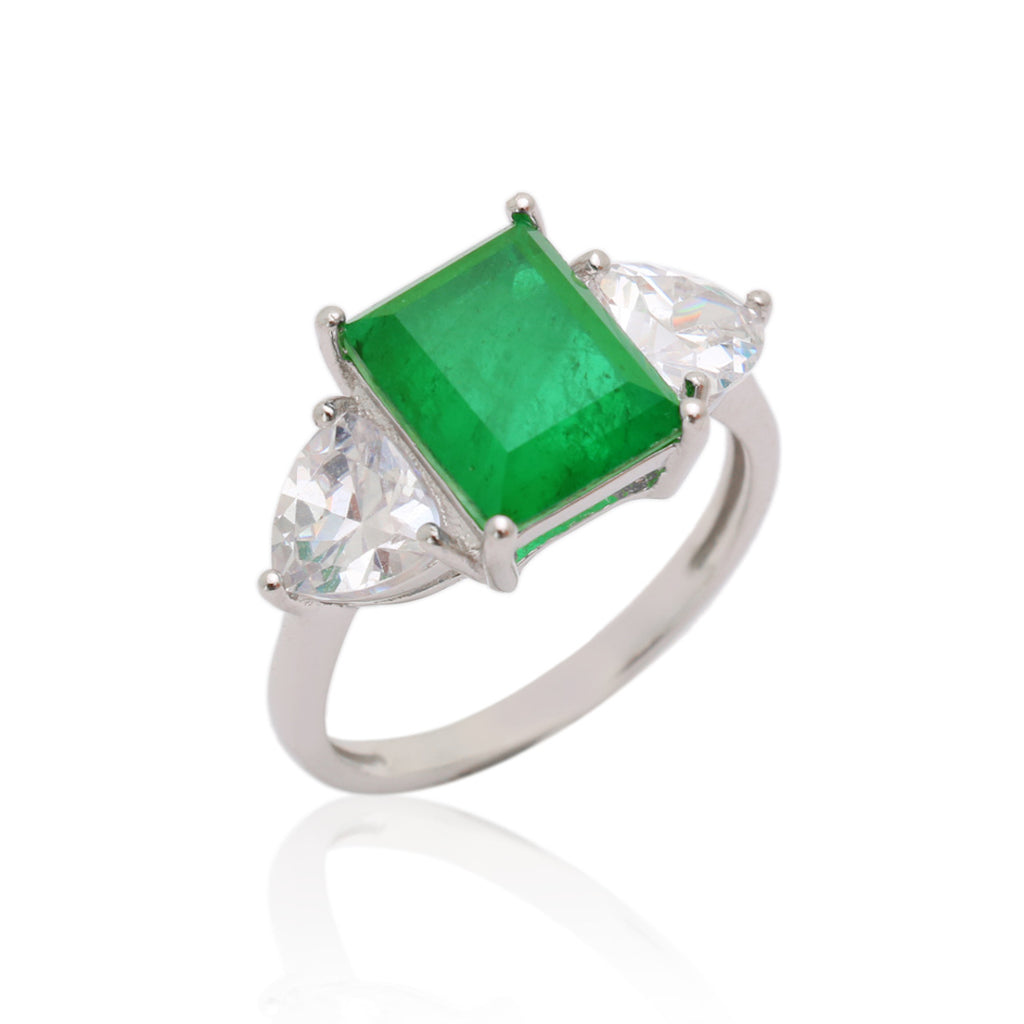 'KATE' Radiant-Cut Emerald & DiamondB Engagement Ring RINGS BECKY JEWELRY