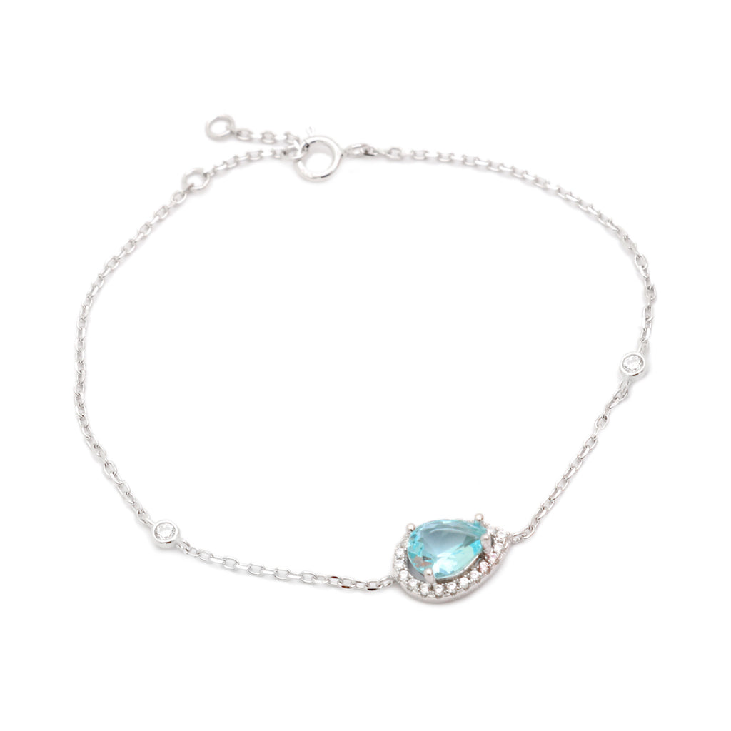 'LARA' Pear-Cut Blue Topaz & DiamondB Pavé Bracelet | BRACELETS | BECKY THE LABEL - luxury accessories & jewelry brand