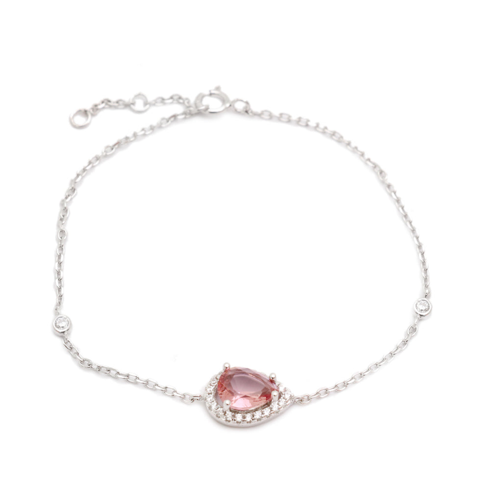 'LARA' Pear-Cut Morganite & DiamondB Pavé Bracelet | BRACELETS | BECKY THE LABEL - luxury accessories & jewelry brand