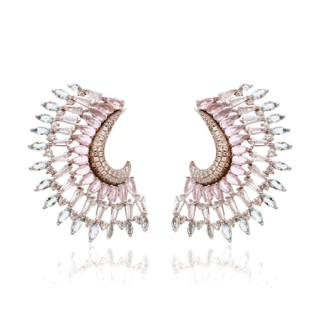 'ROMANA' Pear-Cut Pink Quartz Marquise-Cut Blue Topaz Statement Earrings | EARRINGS | BECKY THE LABEL - luxury accessories & jewelry brand