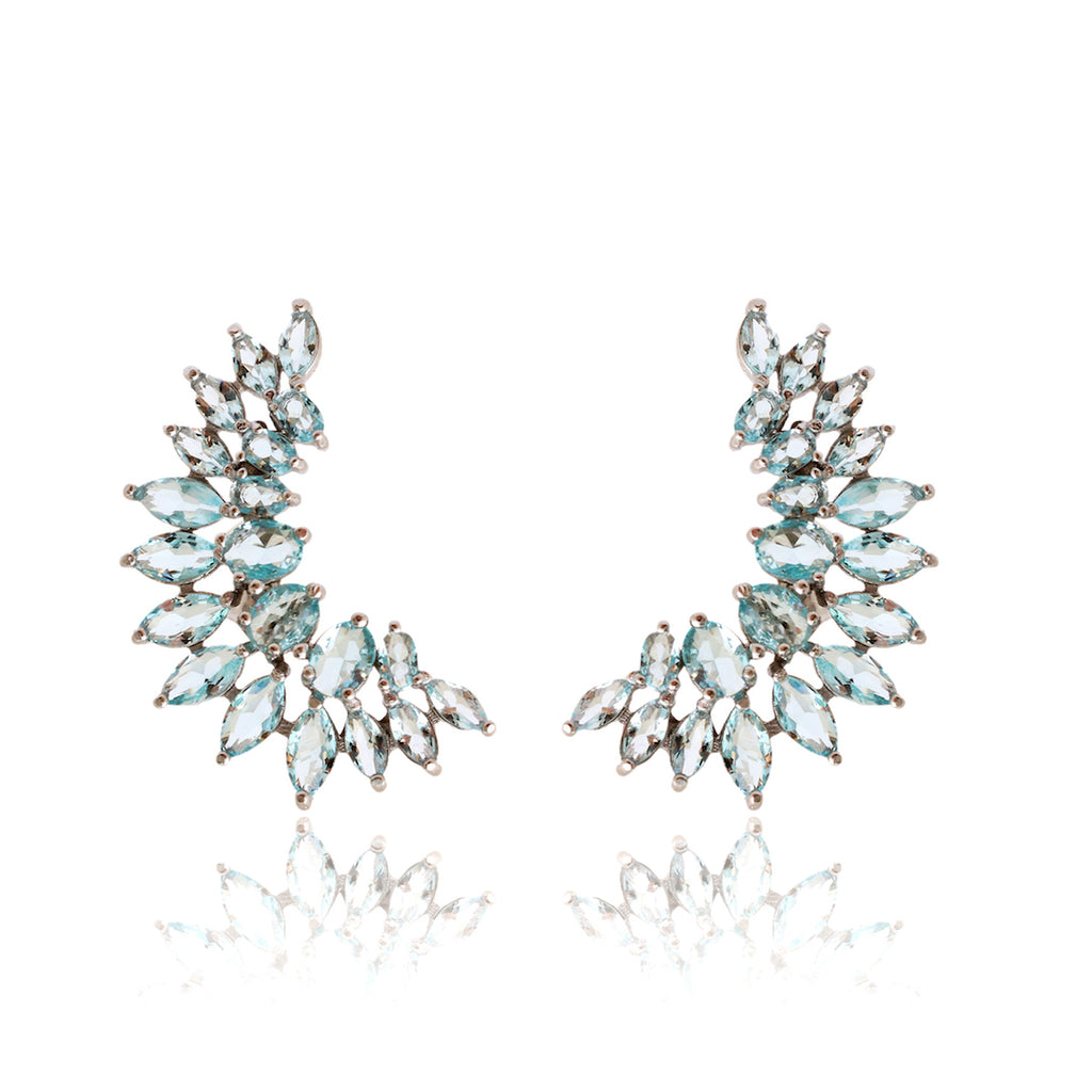 'POLIANA' Oval-Marquise-Cut Blue Topaz Earring EARRINGS BECKY JEWELRY