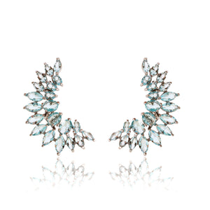 'POLIANA' Oval-Marquise-Cut Blue Topaz Earring | EARRINGS | BECKY JEWELRY