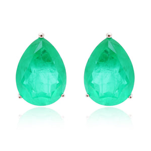 'HARPER' Pear-Cut Fusion Emerald Earrings | EARRINGS | BECKY THE LABEL - luxury accessories & jewelry brand