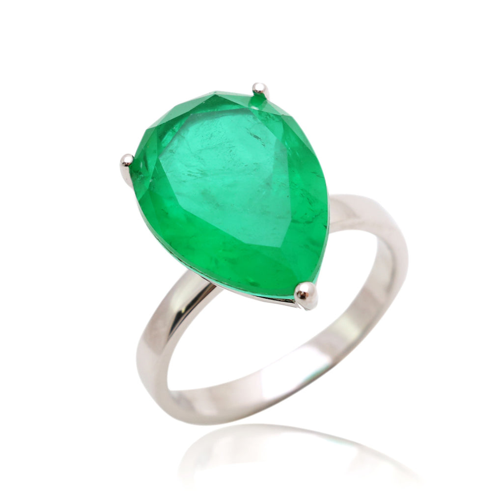 'HARPER' Pear-Cut Fusion Emerald Statement Ring RINGS BECKY JEWELRY