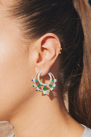 'TOKYO' Pear-Cut Emerald & Blue Sapphire & DiamondB Statement Earrings | EARRINGS | BECKY JEWELRY