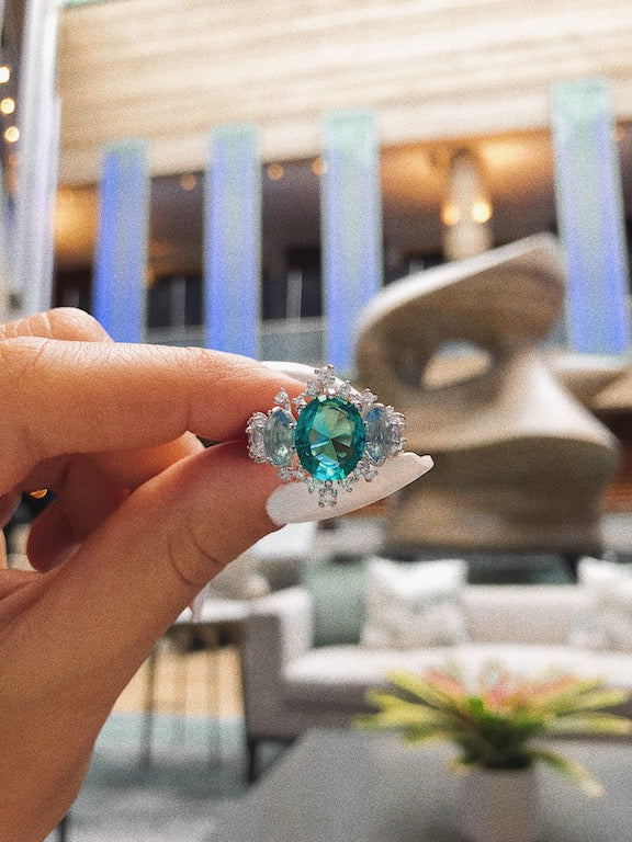 'MILA' Oval-Cut Blue Topaz & Tourmaline Paraíba DiamondB Engagement Ring | ENGAGEMENT RING | BECKY THE LABEL - luxury accessories & jewelry brand