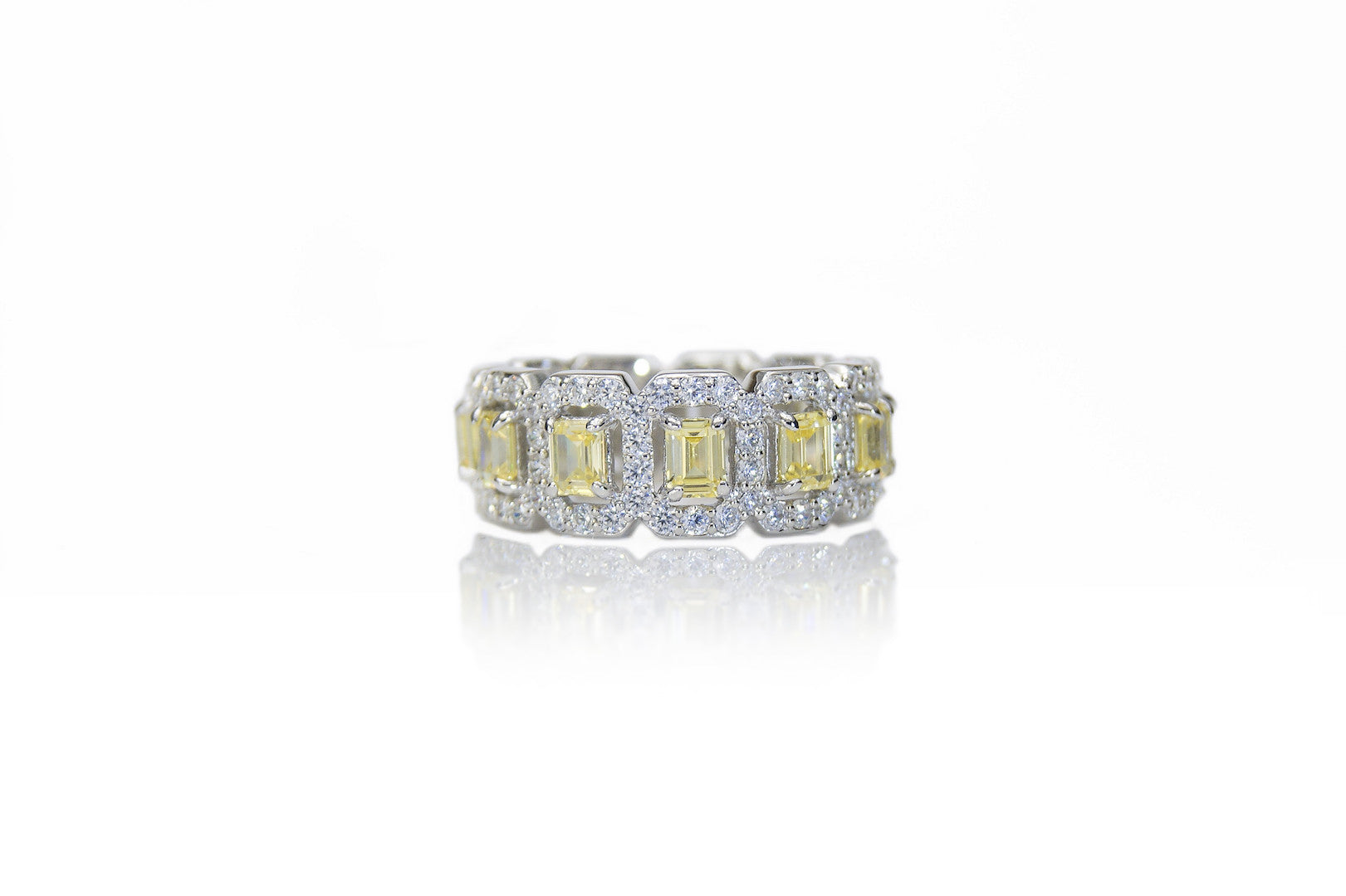 'LUANA' Emerald-Cut Citrine & DiamondB Pavé Band Ring | BAND RINGS | BECKY JEWELRY