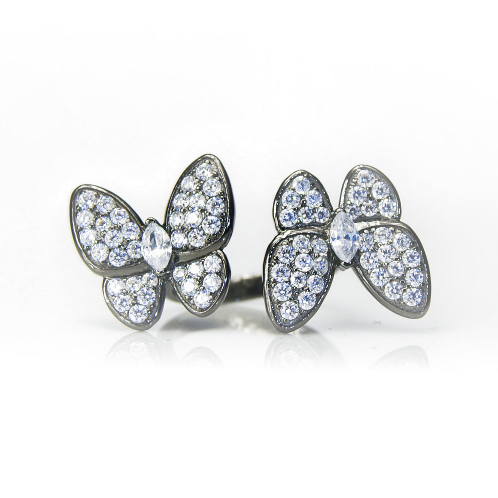 'IVY' DiamondB Studded Butterflies Statement Ring RINGS BECKY JEWELRY
