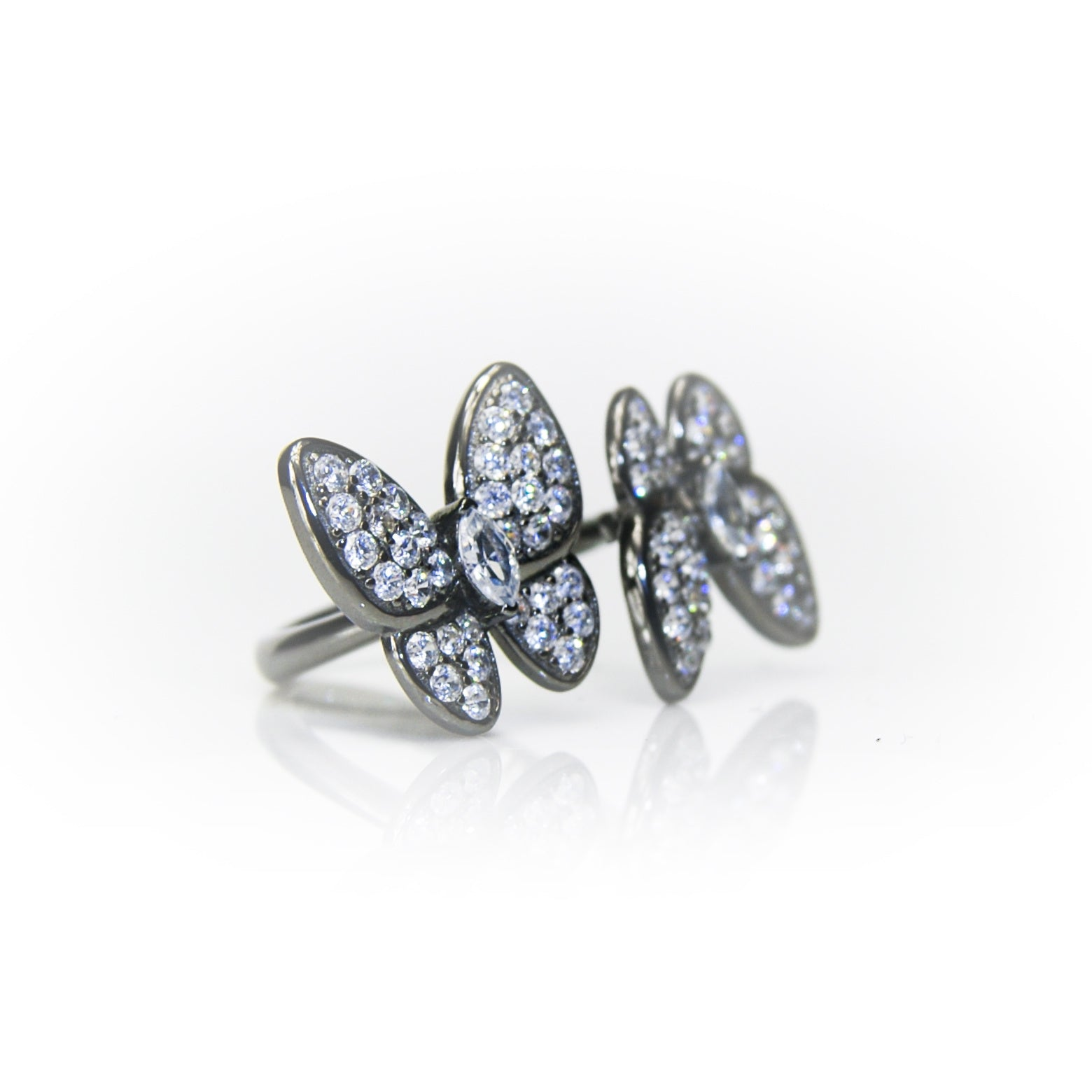 'IVY' DiamondB Studded Butterflies Statement Ring | RINGS | BECKY JEWELRY