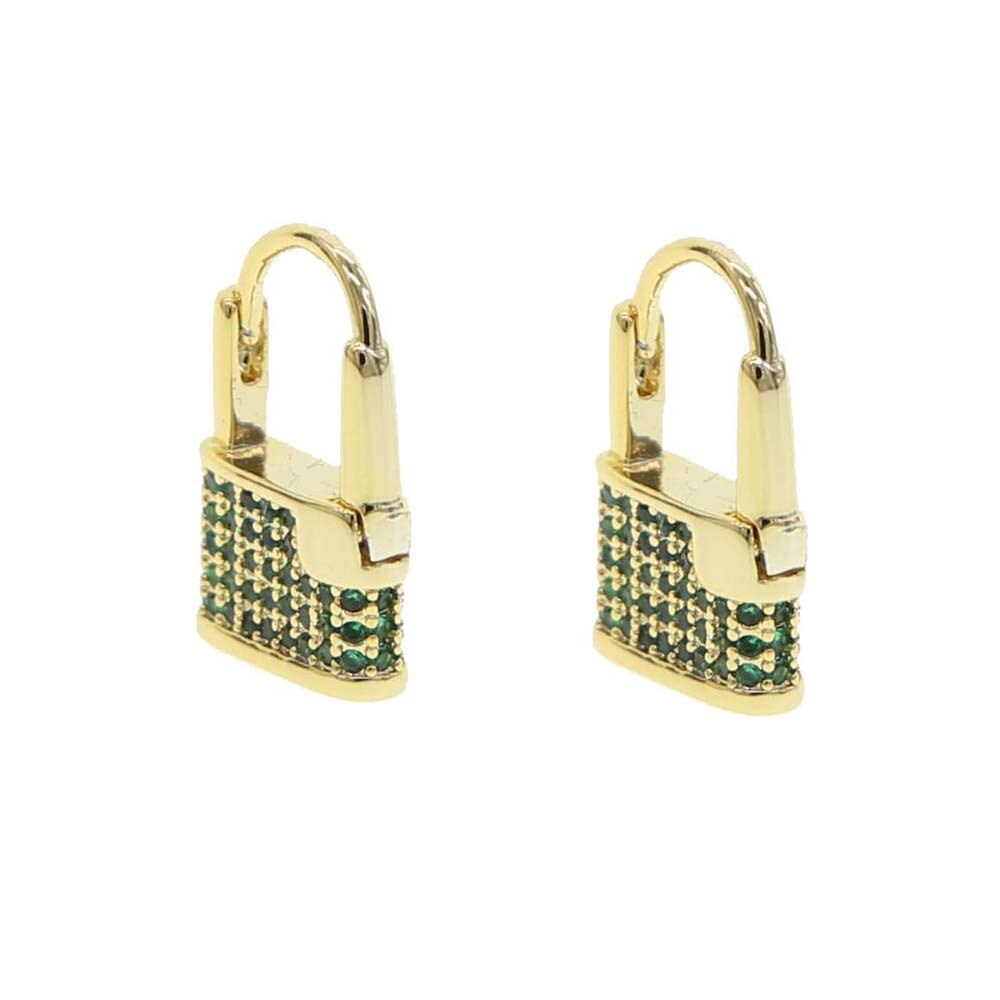 'ALLEN' Crystals Paved Small Lock Gold Earrings | EARRINGS | BECKY THE LABEL - luxury accessories & jewelry brand