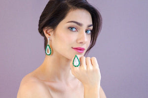 'ALEXIS' Oval-Cut Emerald & DiamondB Statement Earrings | EARRINGS | BECKY THE LABEL - luxury accessories & jewelry brand
