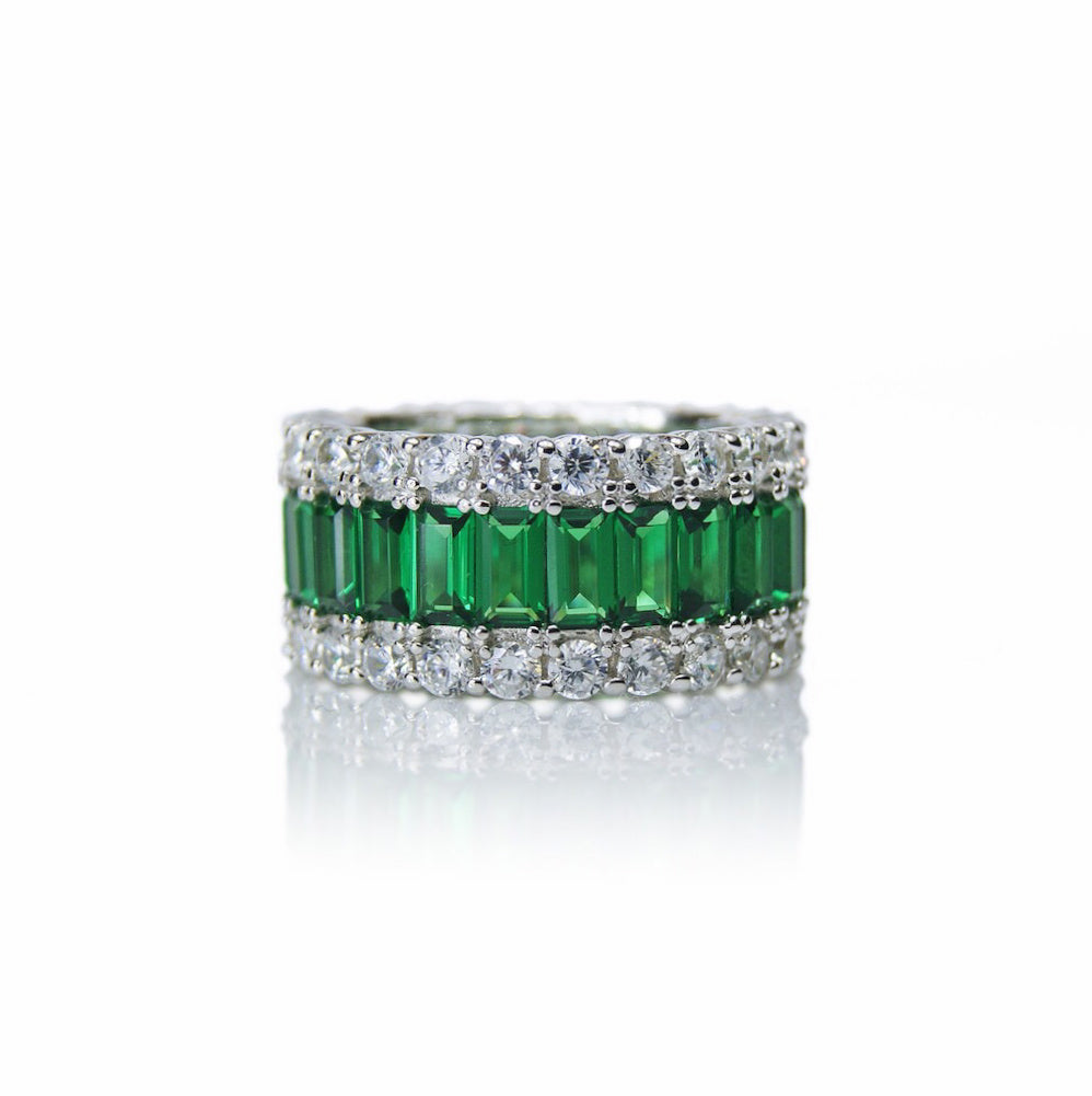 'GRACE KELLY' Baguette-Cut Emerald & DiamondB Band Ring | BAND RINGS | BECKY JEWELRY