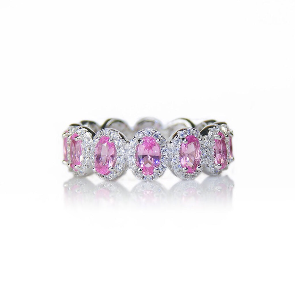 'CHARLOTTE' Oval-Cut Pink Tourmaline & DiamondB Pavé Band Ring | BAND RINGS | BECKY THE LABEL - luxury accessories & jewelry brand