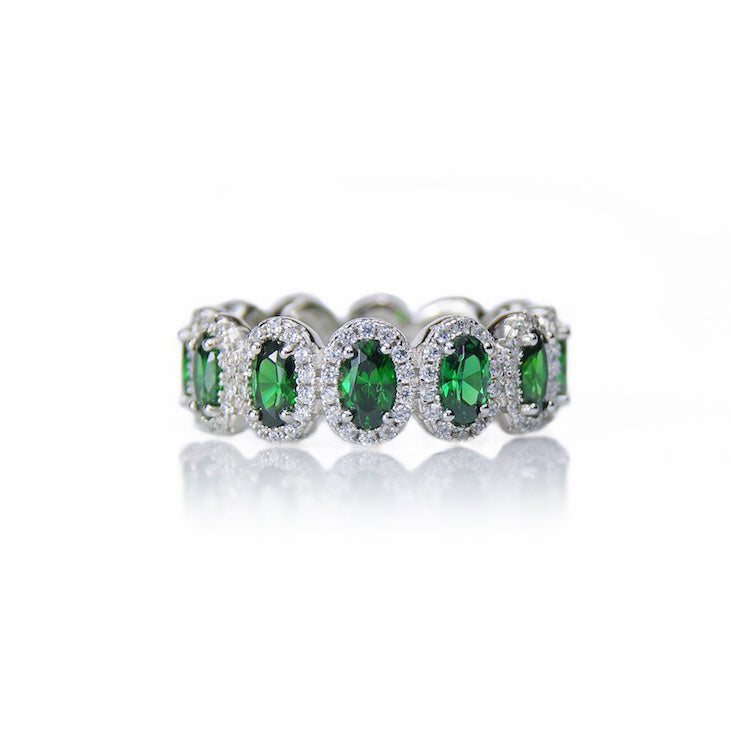 'CHARLOTTE' Oval-Cut Emerald & DiamondB Band Ring | BAND RINGS | BECKY JEWELRY
