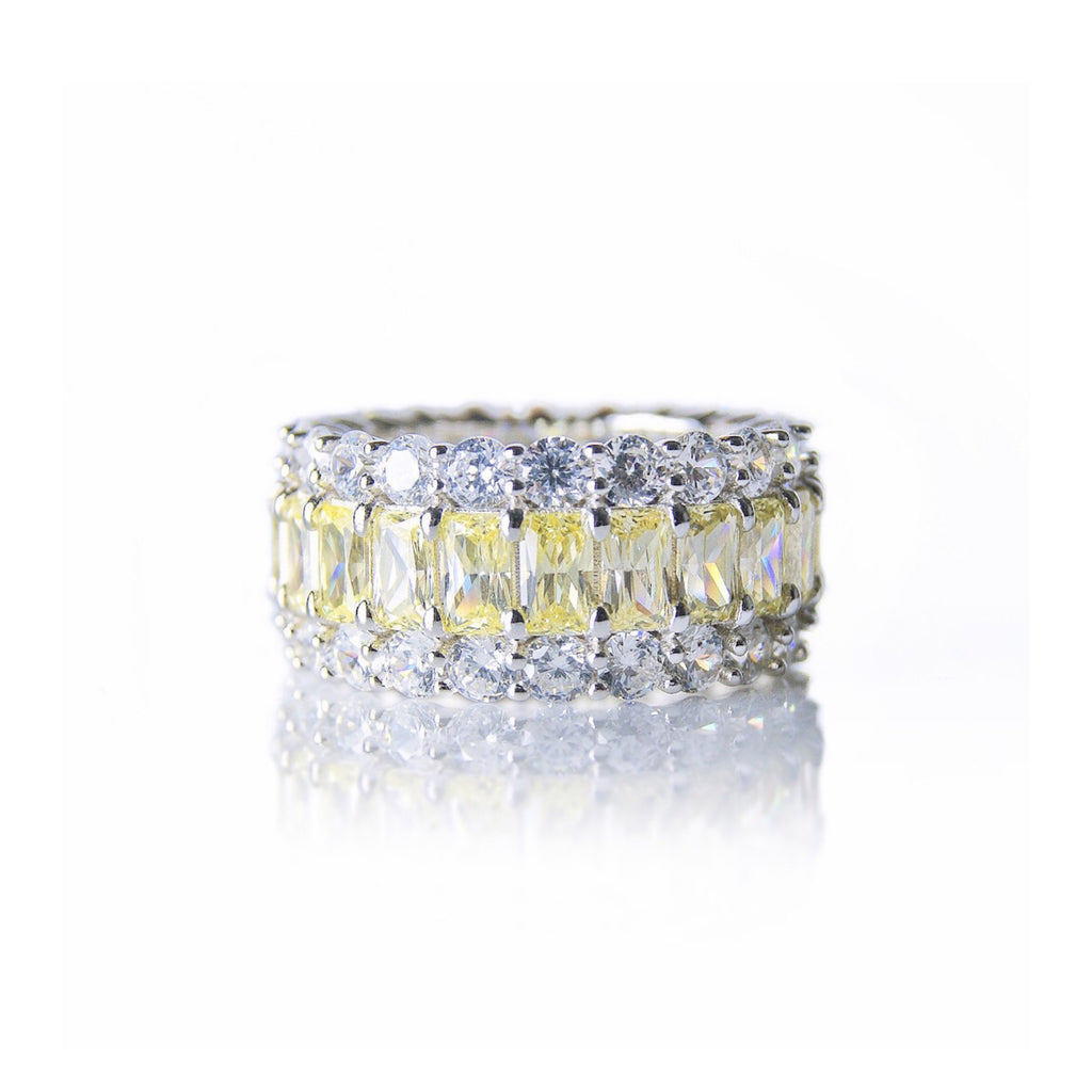 'GRACE KELLY' Baguette-Cut Citrine & DiamondB Band Ring | BAND RINGS | BECKY THE LABEL - luxury accessories & jewelry brand