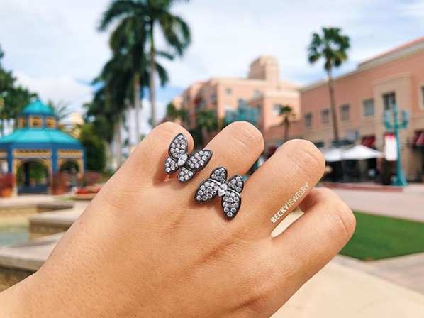 'IVY' DiamondB Studded Butterflies Statement Ring | RINGS | BECKY THE LABEL - luxury accessories & jewelry brand